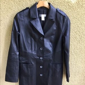 Newport News Genuine Leather Trench Coat | Size 8